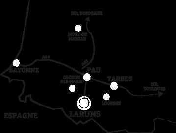 Carte Laruns (64260) dans les Pyrénées Atlantiques à 1h30 de Bayonne et Mont de Marsan